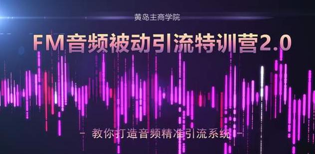 黄岛主:FM音频引流特训营2.0,教你独家引流模式打造音频精准引流系统