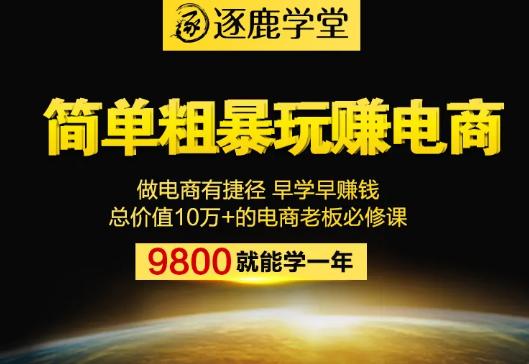 逐鹿学堂:简单粗暴网赚电商共17系类课程,总价值9800