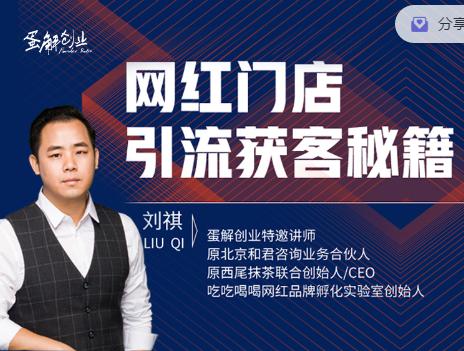 刘祺网红门店引流获客秘籍,蛋解创业价值299元